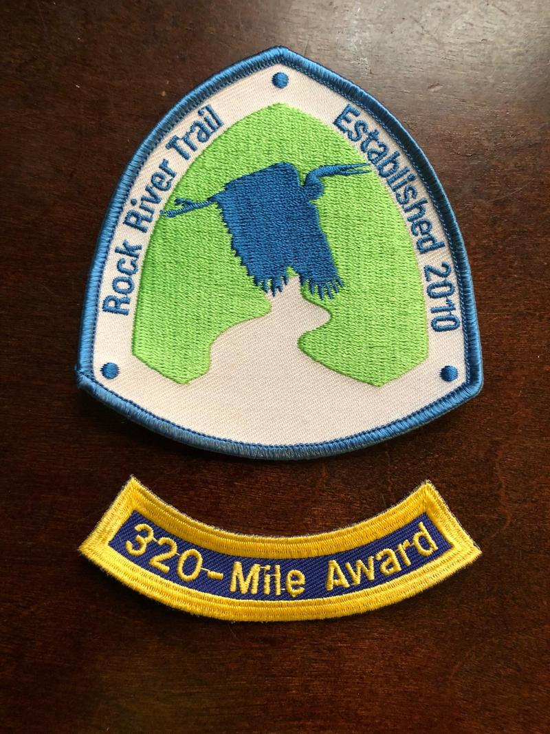 The official Rock River Trail patch with 320-mile rocker commemorating the first bicycle ride the full length of the trail.