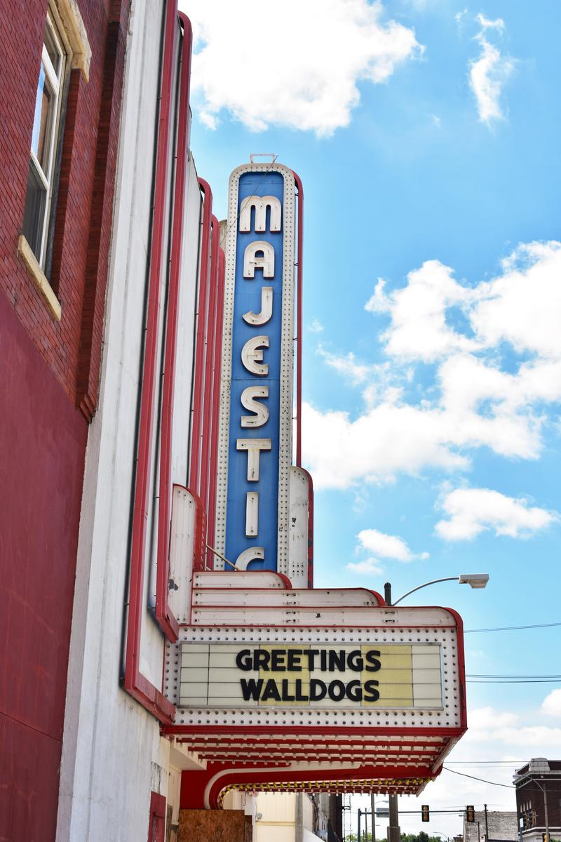 A sign at the Streator Majestic Theatre, which is permanently closed, welcomes the Walldogs.