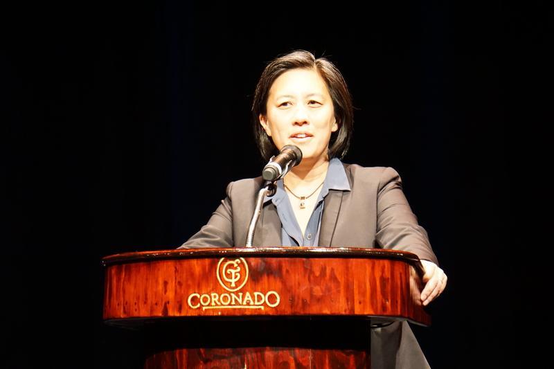 Major League Baseball's Senior Vice President for Baseball Operations Kim Ng addressed the crowd at the Coronado Wednesday