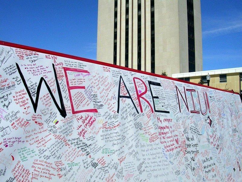 Students and other members of the DeKalb community left greetings, memories and good wishes on this memorial wall on campus.