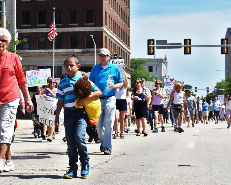 People marched through the streets of Rockford on Saturday.