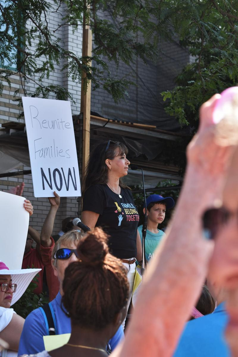 Organizer Linda Zuba speaks at the rally in Rockford.
