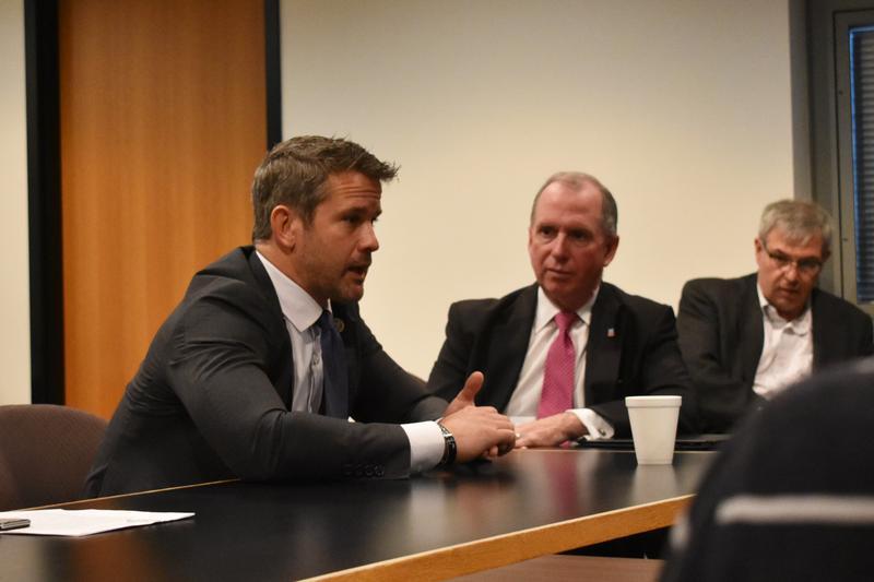 Congressman Kinzinger at NIU on Tuesday.