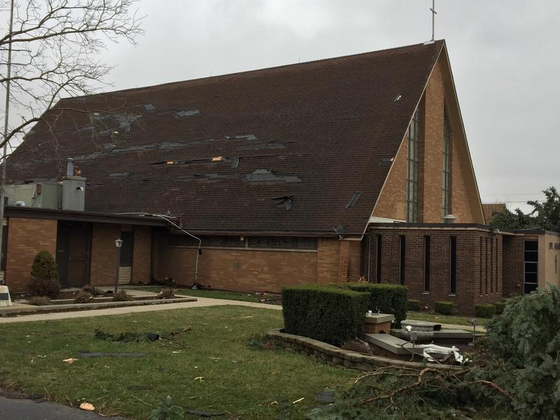 St. Mary's Catholic Church was heavily damaged by the February 28 tornado that struck Naplate.