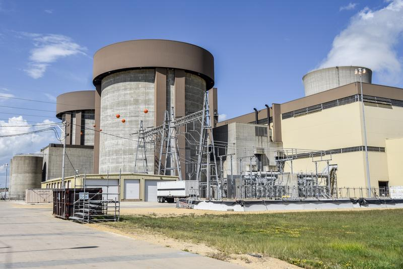 The Byron Nuclear Generating Station has two reactors.  They're protected in these smaller, cylindrical containment buildings.