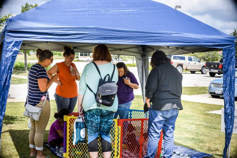 Educators gathered around the puppy pen to play with puppies.