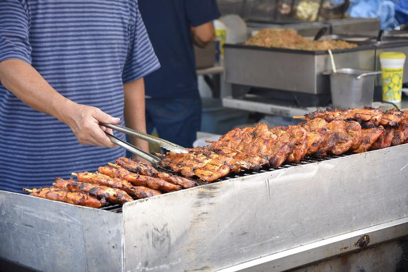 Chicken Kabobs being prepared for Corn Fest customers