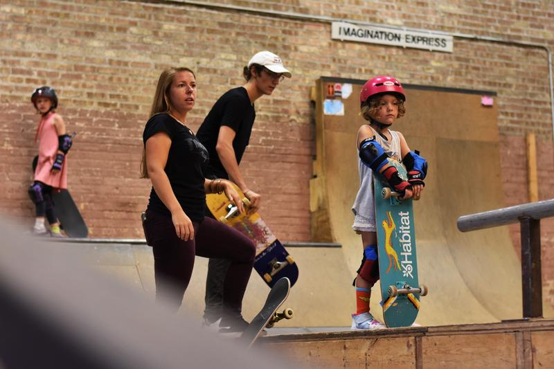 Ariel Ries looks out across the Fargo indoor skate park.