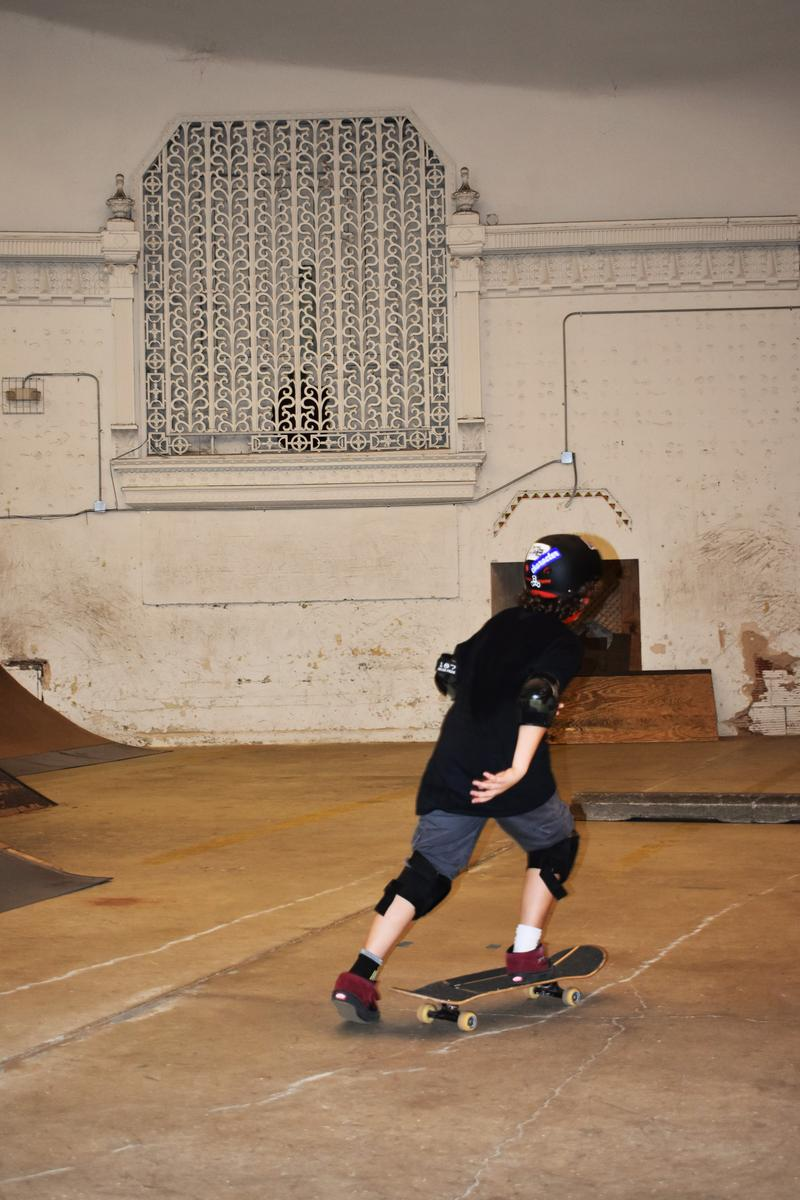 A young skateboarder participates in a class at Fargo in DeKalb.