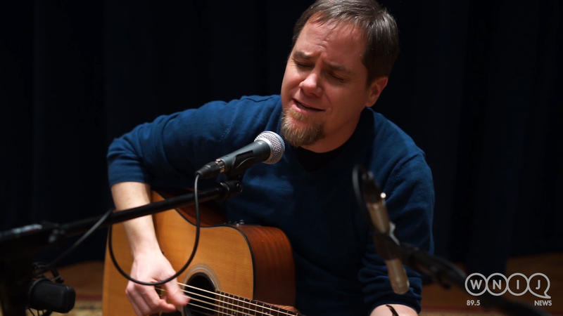 Matthew Caleb Flamm performs in WNIJ's Studio A