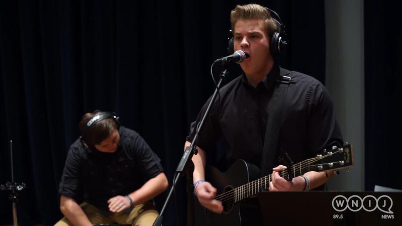 Zack Baumgartner performs in WNIJ's Studio A