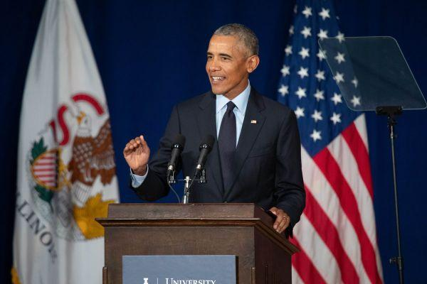 Former President Barack Obama made his first political speech since leaving office to a packed auditorium of mostly students at the University of Illinois at Urbana-Champaign on Friday, September 7, 2018.