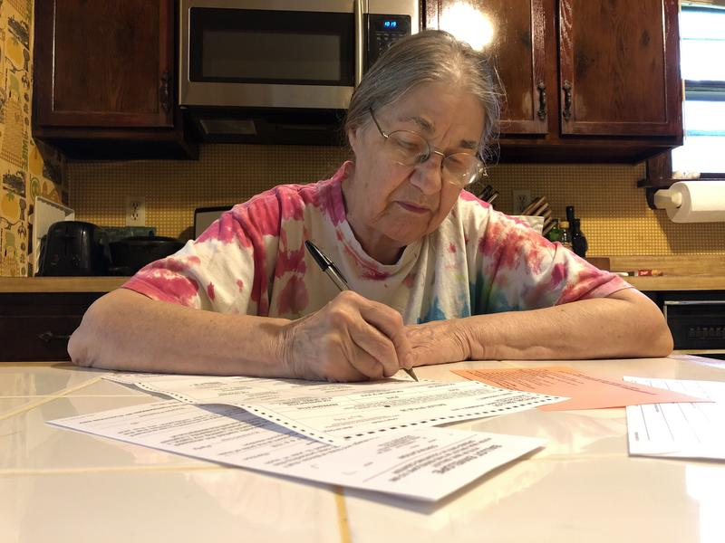 Retired school teacher Connie Ross filled out her ballot at home and then mailed it to the Board of Elections.