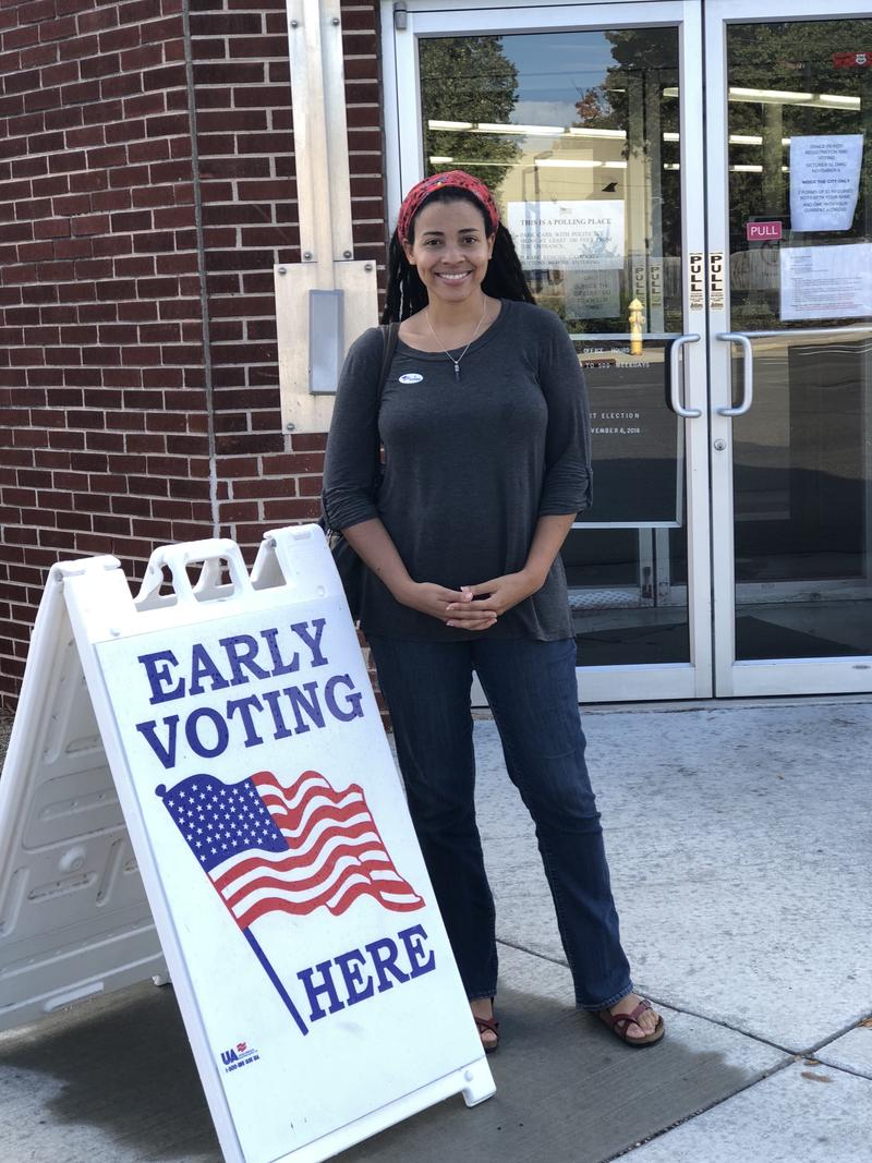 Nicole Rundall Royal moments after she voted early.