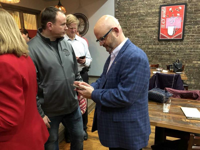 Jeff Keicher checks election night results at The Forge of Sycamore