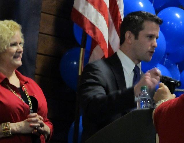 Adam Kinzinger and family at Starved Rock Lodge on election night