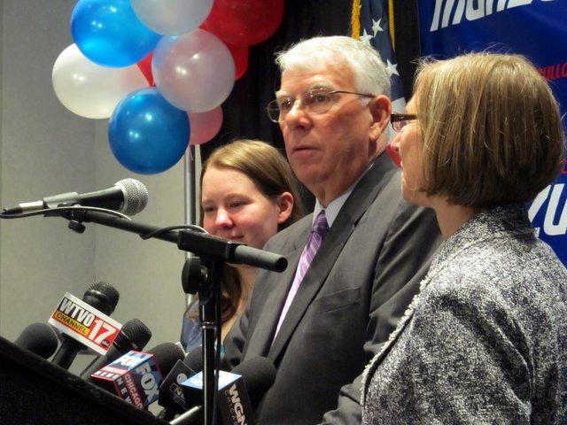 Katie, Don, and Freda Manzullo address supporters election night in Rockford.