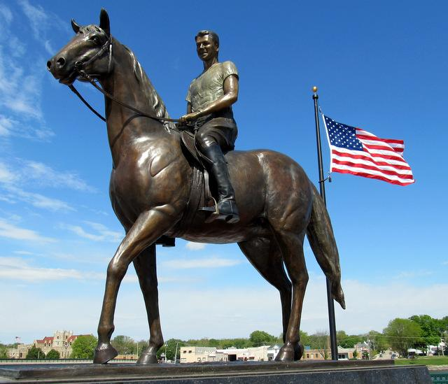Statue of young Ronald Reagan on a horse, Dixon's riverfront