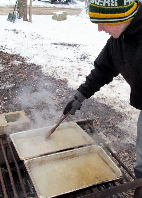 Chris Handel stirs the sap at Russell Woods