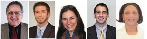 From left: Ald. Frank Beach, John Sweeney, Ald. Karen Elyea, Ald. Tom McNamara, Ald. Ann Thompson-Kelley