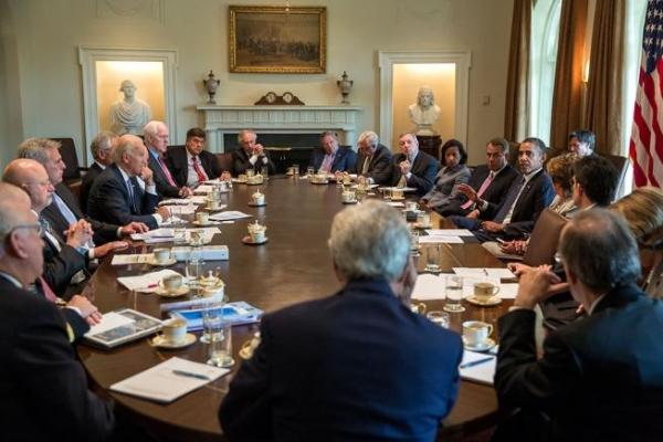 President Barack Obama meets with Members of Congress to discuss Syria in the Cabinet Room of the White House.