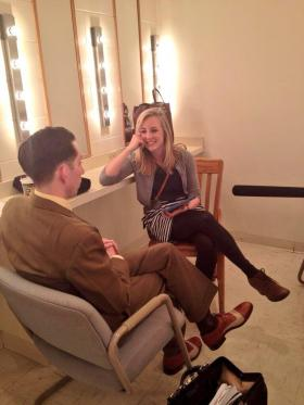 Cass Herrington chatting with Pokey LaFarge before the show in New Harmony.