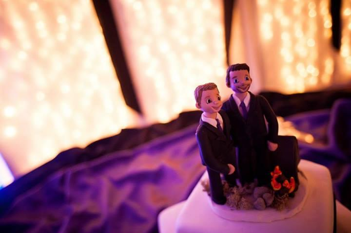 Alex said one of the hardest things to find for his wedding was a proper cake topper. He and Robert got one custom made.