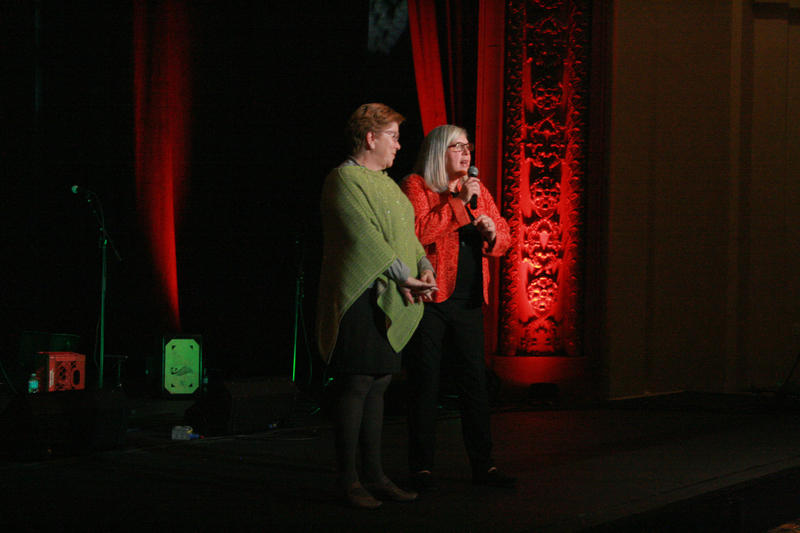 Organizers Connie Weinzapfel and Liz Mumford close the concert