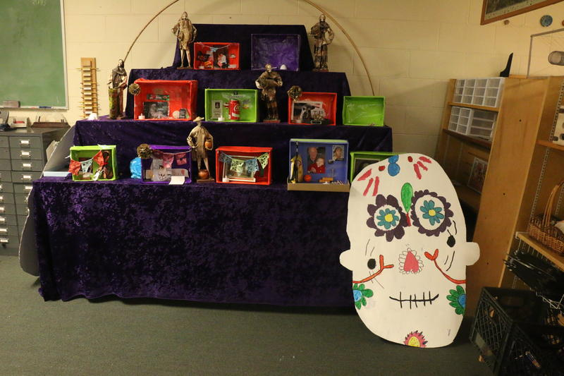 Montessori Academy elementary students altar with ofrendas