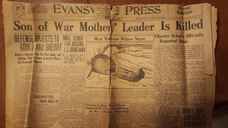 Evansville Courier headline announcing Chester's death