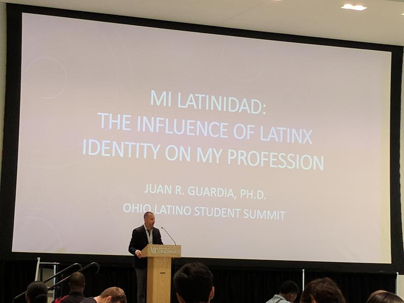 Dr. Guardia presents his story for the students.