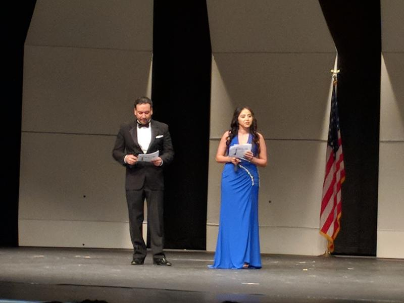 Jaime Palacios and Janeth Vazquez MC the Cinco de Mayo Pageant in Liberal, Kansas