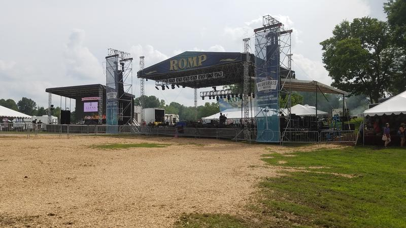 Extra mulch in front of the main stage because of muddy conditions