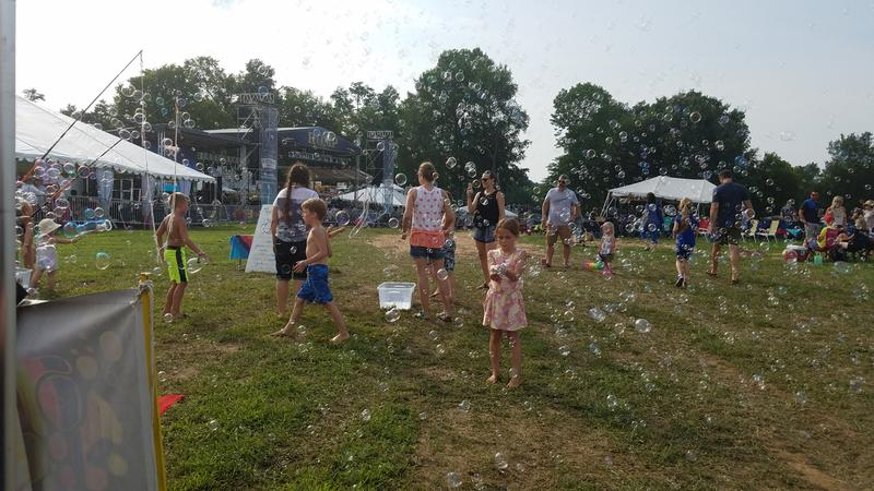 The bubble machine was going Thursday afternoon in the main stage area