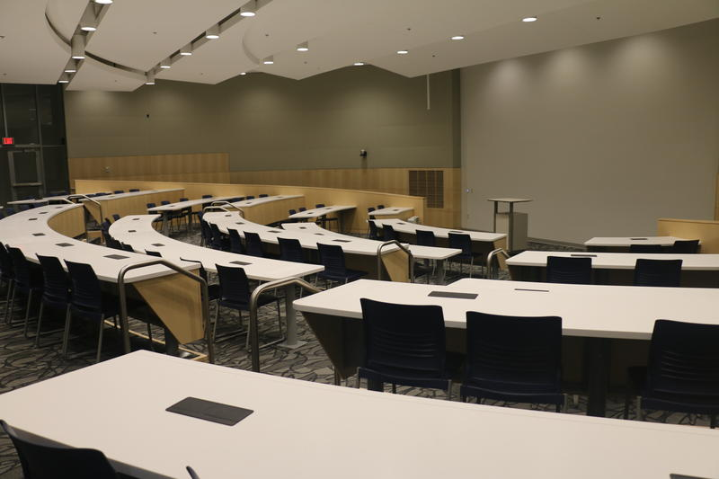 The auditorium on the center's first floor. It will be used for large lectures.