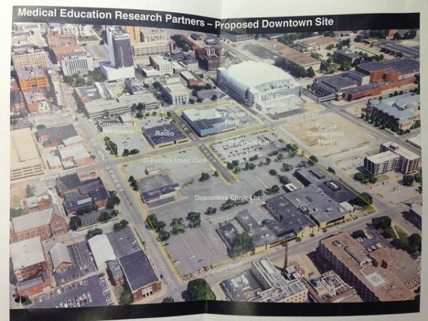 Aerial view showing the proposed site for a downtown Evansville medical school