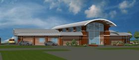 Artists rendering of the proposed new library.
