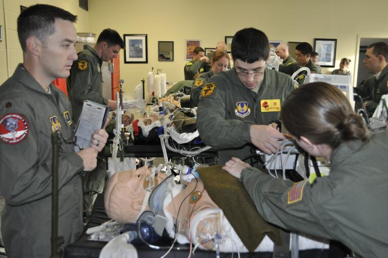 Medical trainees prepare for test flight on C-130 transport+