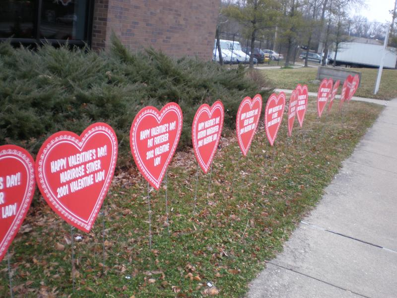 Names of all Valentine Ladies in front of Loveland, Ohio post office.