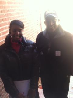 canvassers Dionne Harrison and Malcolm Timmons
