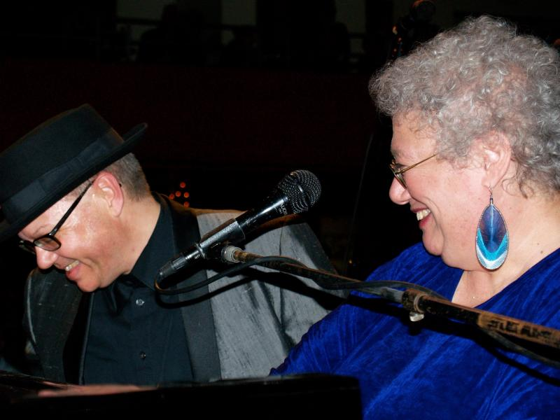 "Ann performing her song, ""20 Fingers On 88 Keys"" with Cincinnati Entertainment Award winner, Ricky Nye, at his 9th Annual Blues & Boogie Piano Summit"