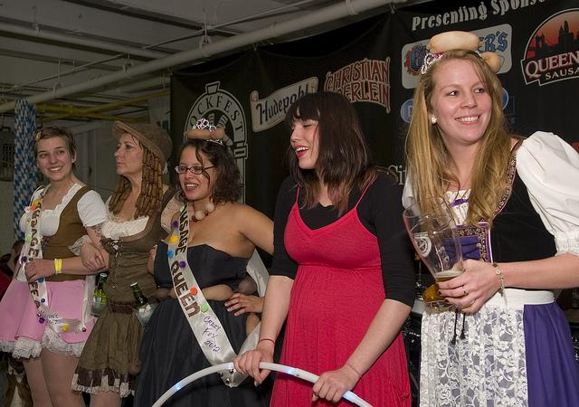 2012 Sausage Queen contestants axiously await the announcement of the winner.