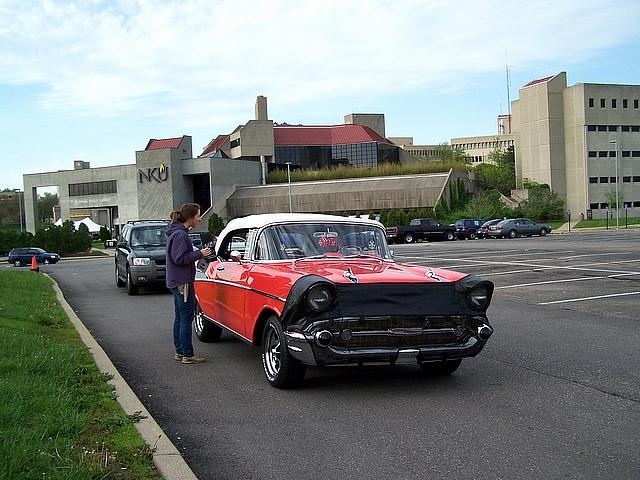 WNKU Station Manager, Chuck Miller, registers his 1957 Chevy