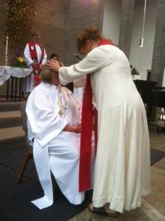 Dr. Meyers receives Blessing from woman priest Janice Sevre-Duszynska