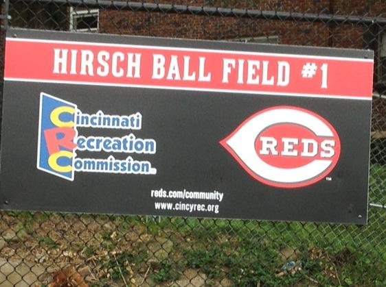 Temporary sign at the sight of the ball fields behind Hirsch Rec Center