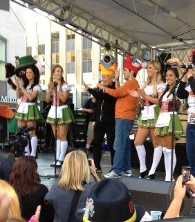 Actor, George Takei and German dancers leading chicken dance