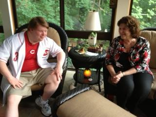 Teddy Kremer and his mom Cheryl at home
