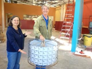MAry Kroner and David Tape present light fixtures for Ruth's made from repurposed material