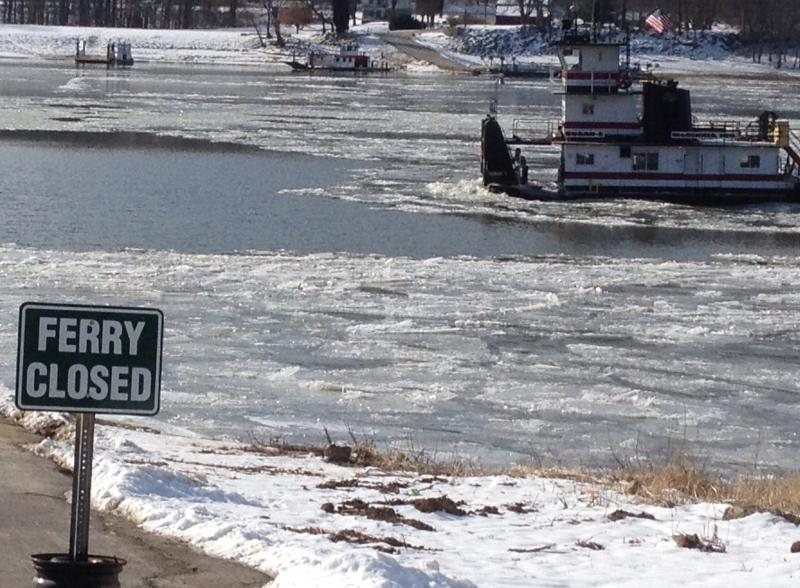 Anderson Ferry closed as chunks of ice drift down Ohio River but a towboat comes through