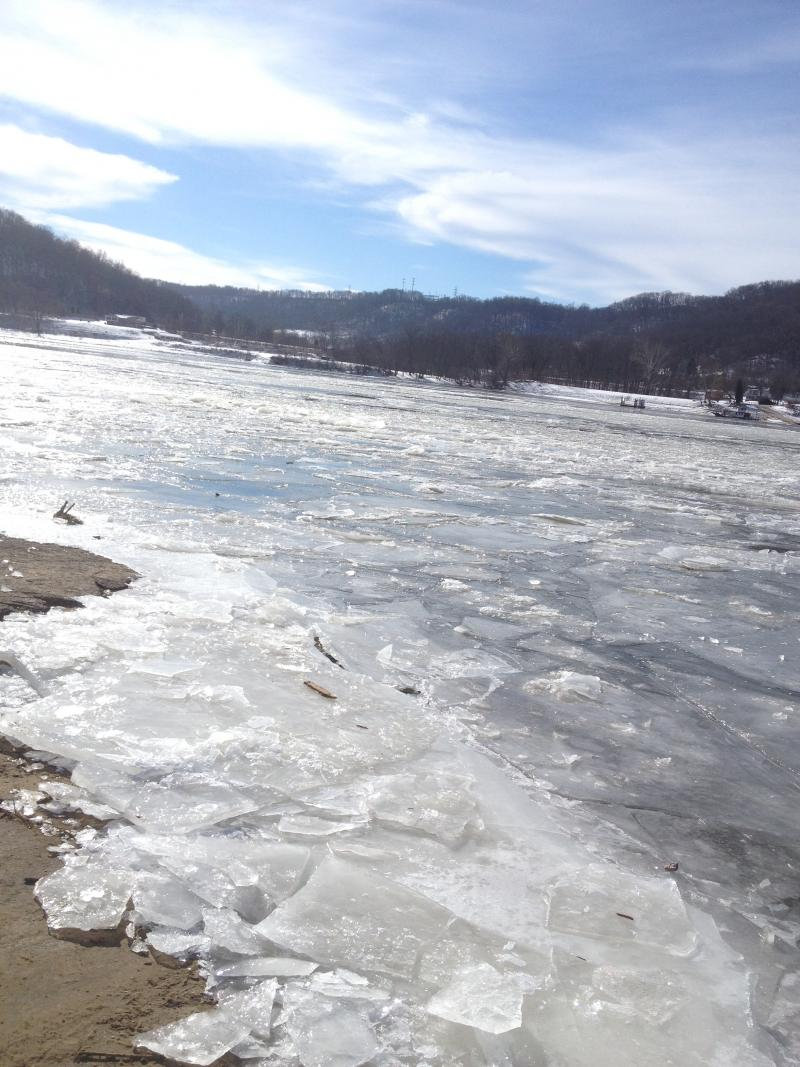 Parts of Ohio River near River Road remained frozen for days